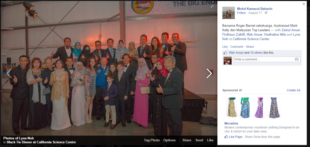 Leaders Malaysia bersama astronaut dan family CEO Shaklee - print screen from FB Lyna Noh