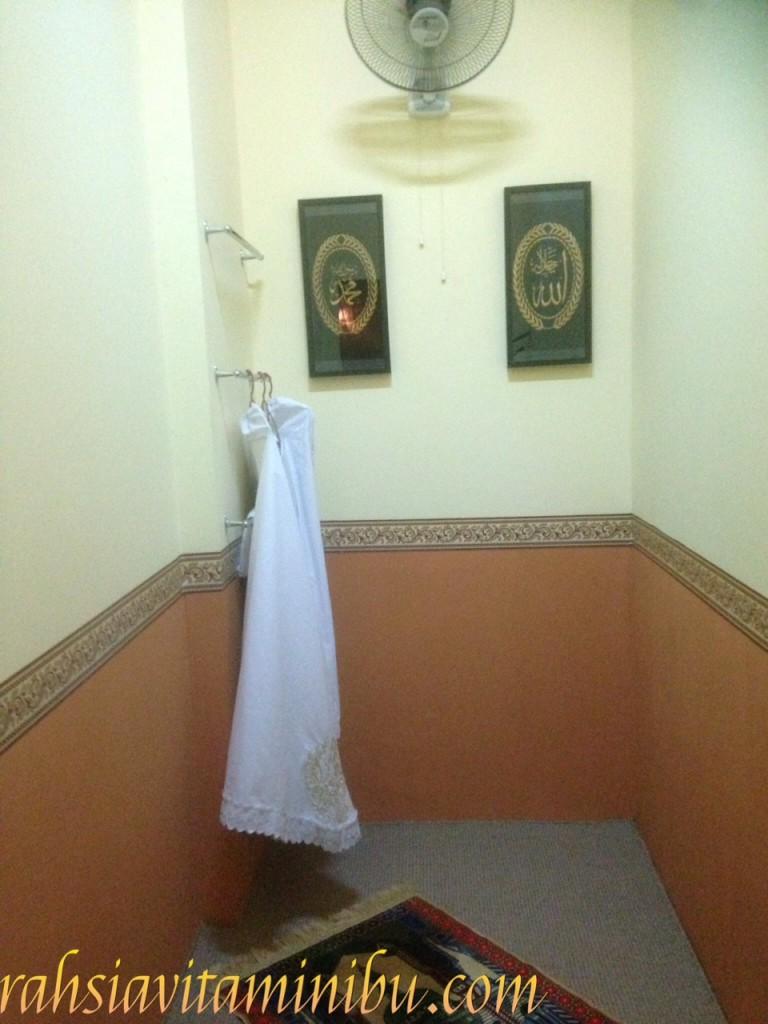 Ruang solat di Siti Salon AlZahrah Sri Rampai